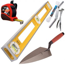 Professional-Bricklayers-Builders-Tool-Kit-Comprising-of-1-Mtr-Stabilla-Spirit-Level-Marshaltown-11-inch-Trowel-Brick-Line-and-Pins-8m-Fisco-Brick-Mate-Tape-Measure-0