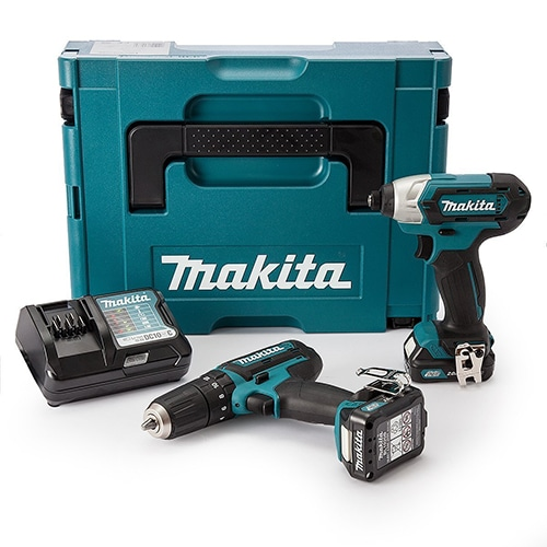 Makita CLX202AJ 10.8 V CXT Combi and Impact Driver with 2 x 2.0Ah batteries